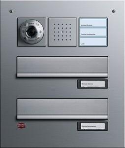 RENZ poštovní schránka, alu, osazená dveřním podomít. telefonem s barev. kameru a volacím tlačítkem 3x