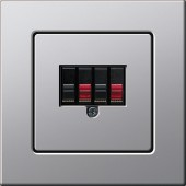 E22 stereo reproduktorová zásuvka, hliník
