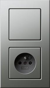 E22 nerez, zásuvka s dětskou ochranou  s vypínačem