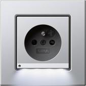 E22 hliník, zásuvka s dětskou ochranou  s LED osvětlením