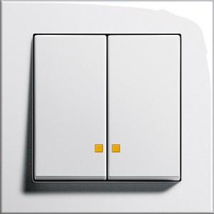 Sériový vypínač s LED kontrolkou, E2 bílá lesklá