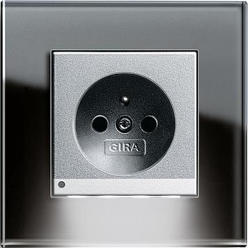Esprit sklo černá/ alu, zásuvka s dětskou ochranou a LED osvětlením