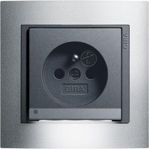 Zásuvka s dětskou ochranou a LED osvětlením, Event alu/ antracit