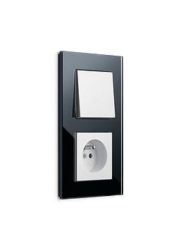 Esprit sklo černé/ bílá lesklá, zásuvka s dětskou ochranou a vypínač