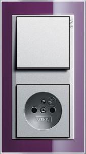 Event Klar lilkově fialová/ alu, zásuvka s dětskou ochranou a vypínač
