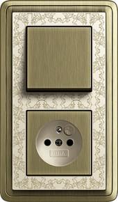 ClassiX Art bronz/ krémová, zásuvka s dětskou ochranou a vypínač