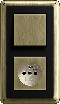 ClassiX bronz/ černá, zásuvka s dětskou ochranou a vypínač