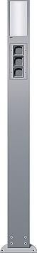 Energetický sloupek se 3 volnými jednotkami a světelným elementem, 1600 mm, alu