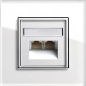 Univerzální-/ISDN UAE zásuvka, Esprit sklo bílá/ bílá lesklá