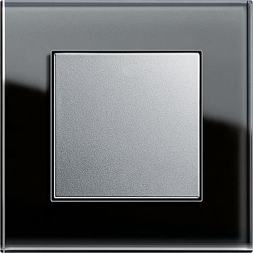 Tlačítkový stmívač, Esprit sklo černá/ alu