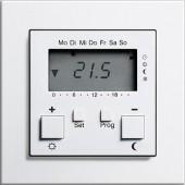 Regulátor prostorové teploty s hodinami, E2 bílá lesklá