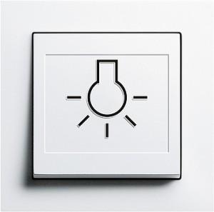 Vypínač se hmatovým symbolem, E2 bílá lesklá