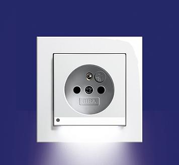 Zásuvka s LED osvětlením, E2 bílá lesklá