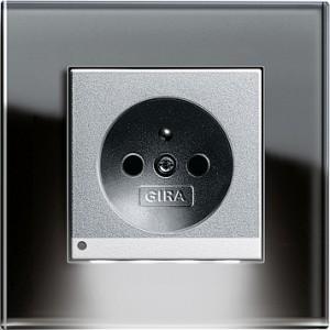 Zásuvka s LED osvětlením, Esprit sklo černá/ alu