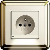 Zásuvka s LED osvětlením, ClassiX mosaz/ krémová